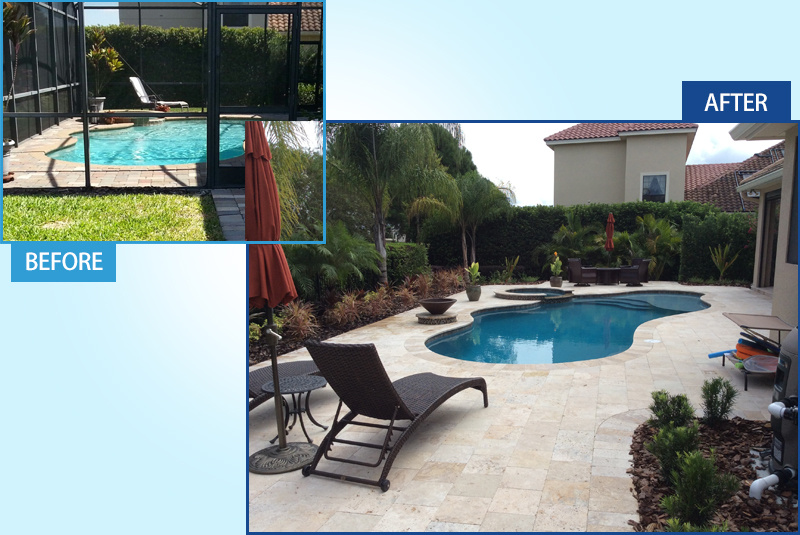 before and after of second pool renovation